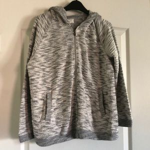 Hooded zip up sweater. Plus-size